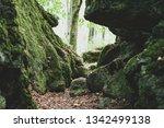 a footpath between rocks in the ...   Shutterstock . vector #1342499138