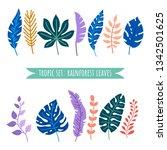 set of tropical leaves. vector... | Shutterstock .eps vector #1342501625