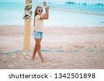 little adorable girl playing...   Shutterstock . vector #1342501898