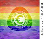 euro icon inside emblem on... | Shutterstock .eps vector #1342515038