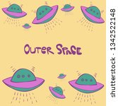 cute hand drawn vector seamless ... | Shutterstock .eps vector #1342522148