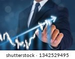 business man point hand on the... | Shutterstock . vector #1342529495