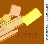 vector yellow stick of butter.... | Shutterstock .eps vector #1342530365