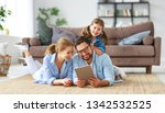 happy family. father mother and ... | Shutterstock . vector #1342532525