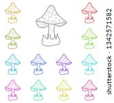 mushroom multi color icon....