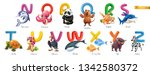zoo alphabet. funny animals  3d ... | Shutterstock .eps vector #1342580372