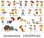 set of exercise kid character... | Shutterstock .eps vector #1342592162