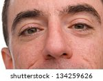 Caucasian Male Headshot - Extreme Closeup of his Nose and Eyes - stock photo