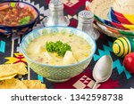 bowl with fiesta ham soup on a... | Shutterstock . vector #1342598738