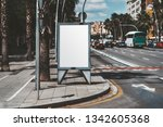 mockup of an empty city poster... | Shutterstock . vector #1342605368