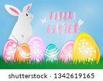 easter poster. white easter... | Shutterstock .eps vector #1342619165