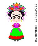 baby frida kahlo with crown of... | Shutterstock .eps vector #1342619732