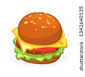cartoon cheeseburger or... | Shutterstock .eps vector #1342640135