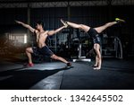 young athletic couple... | Shutterstock . vector #1342645502