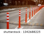 a row of red and yellow plastic ... | Shutterstock . vector #1342688225