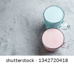 trendy drink  blue and pink... | Shutterstock . vector #1342720418