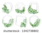 silver polygonal frame with... | Shutterstock . vector #1342738802