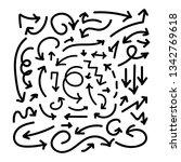 doodle arrows set in thin lines....   Shutterstock .eps vector #1342769618