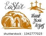 easter jesus christ rose from...   Shutterstock .eps vector #1342777025