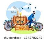 businessman drives a business...   Shutterstock .eps vector #1342782242