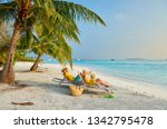 family on beach  young couple... | Shutterstock . vector #1342795478