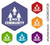 web community icons vector...