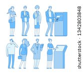 queue atm. people in line to... | Shutterstock .eps vector #1342803848