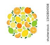 cute citrus fruits lemon  lime... | Shutterstock .eps vector #1342804508