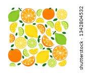 cute citrus fruits lemon  lime... | Shutterstock .eps vector #1342804532
