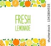 cute citrus fruits lemon  lime... | Shutterstock .eps vector #1342804535