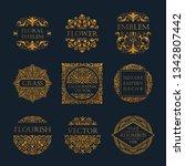 calligraphic luxury line logo... | Shutterstock .eps vector #1342807442