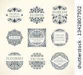 calligraphic luxury line logo... | Shutterstock .eps vector #1342807502