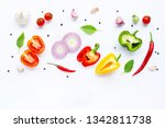 various fresh vegetables and... | Shutterstock . vector #1342811738
