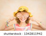 happy child having fun on... | Shutterstock . vector #1342811942
