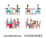 people relaxing in pub drinking ... | Shutterstock .eps vector #1342828385