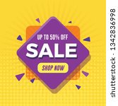 modern sale banner with yellow... | Shutterstock .eps vector #1342836998