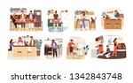 collection of people cooking in ... | Shutterstock .eps vector #1342843748