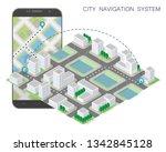 city map route navigation... | Shutterstock .eps vector #1342845128