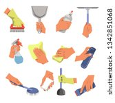 housekeeping hands cleaning... | Shutterstock .eps vector #1342851068