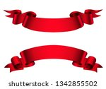 red ribbon banners | Shutterstock .eps vector #1342855502