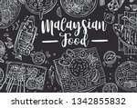 hand drawn malaysian food on a... | Shutterstock .eps vector #1342855832
