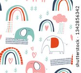 baby seamless vector pattern.... | Shutterstock .eps vector #1342856342