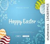 happy easter banner. easter... | Shutterstock .eps vector #1342859915