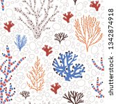 seamless pattern with blue and... | Shutterstock .eps vector #1342874918