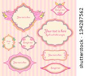 set of pretty pink labels.... | Shutterstock .eps vector #134287562