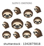 sloth face emotions collection. ... | Shutterstock .eps vector #1342875818