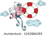 sailor pig with wings fly... | Shutterstock .eps vector #1342886285