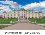 Belveder museum with blue clouds and green grass in Vienna, Austria - stock photo