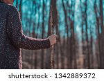 female hiking with wood stick... | Shutterstock . vector #1342889372