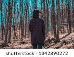 beautiful female walking in... | Shutterstock . vector #1342890272